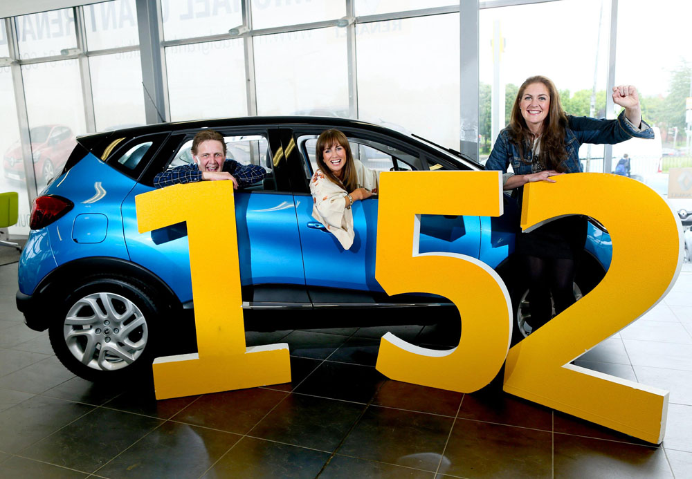 01/06/2015 NO REPRO FEE, MAXWELLS DUBLIN. Renault Group ambassadors; (l to r) TV presenter Lorraine Keane, broadcaster Ian Dempsey and rugby hero Fiona Coghlan were on hand today to get the news out just in time for the launch of Renault's 152 summer campaign. PIC: NO FEE, MAXWELLS. Customers looking to buy their new 152 car will get 0% APR finance from today to the end of June, through Renault Finance, Renault's own bank, which could mean savings of over €2,000. The 0% APR finance offer applies to all orders taken from now until 30th June, and registered on or before the 31st July 2015 and will be available across the entire Renault car range. All Renault cars come with a 5 YEAR WARRANTY across the range, giving even more peace of mind to customers. Contact your local dealership for more details on this new 152 offer and log onto www.renault.ie You can also find out how much your new 152 Renault will save you by checking out www.carculator.ie PIC: NO FEE, MAXWELLS.  NOTE TO EDITORS: For further details contact Roisin O'Hea/Eimear Morris, O'Hea PR T: 01-6608540/534 eimear@oheapr.com