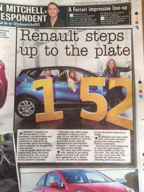 RENAULT 152 PLATE MODELS DUBLIN 2